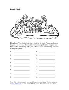 Family Picnic: Brainstorming Worksheet