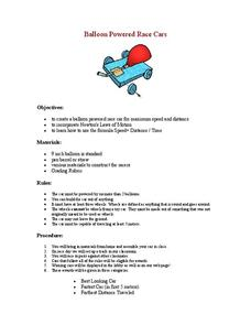 Balloon Powered Race Cars Lesson Plan