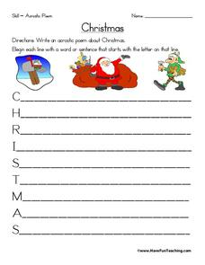 Christmas Acrostic Poem Worksheet