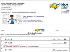 Ordering Numbers-Smallest to Largest Interactive