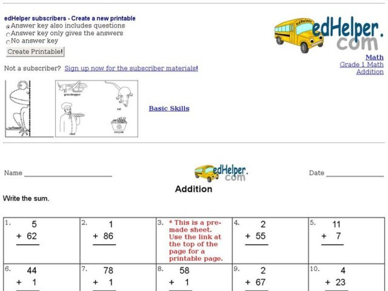 Addition: Add a 1 Digit Number and a 2 Digit Number Worksheet