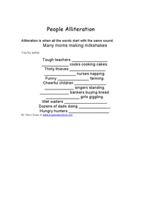 People Alliteration Worksheet