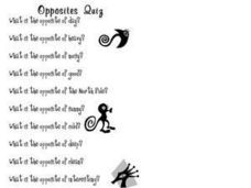 Opposites Quiz Worksheet