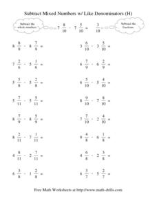 Subtract Mixed Numbers w/Like Denominators (H) Worksheet