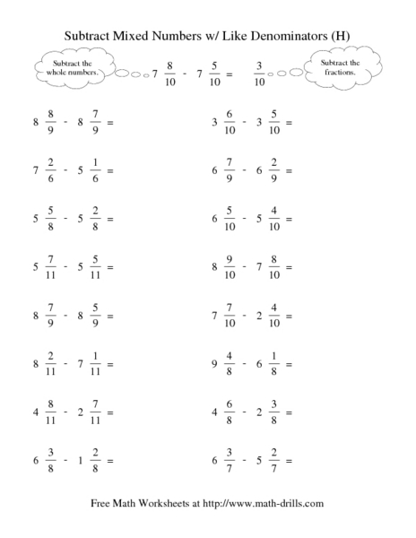 Fractions With Like Denominators Worksheet - Delibertad