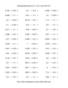 Dividing Decimals by 0.1, 0.01, and 0.001 (F) Worksheet
