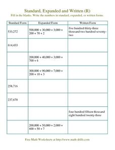 Numbers: Standard, Expanded, and Written Forms Worksheet