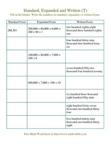 Standard, Expanded and Written Form (T) Worksheet