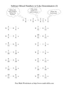 Subtract Mixed Numbers w/ Like Denominators (J) Worksheet