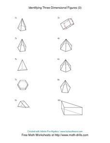 Identifying Three Dimensional Figures (3) Worksheet for 5th ...