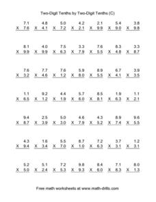 Two-Digit Tenths by Two-Digit Tenths [C] Worksheet