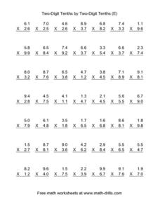 Two-Digit Tenths by Two Digit Tenths (E) Worksheet