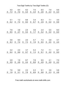Two-Digit Tenths by Two Digit Tenths (G) Worksheet