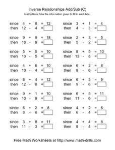 Inverse Relationships Add and Subtract [C] Worksheet