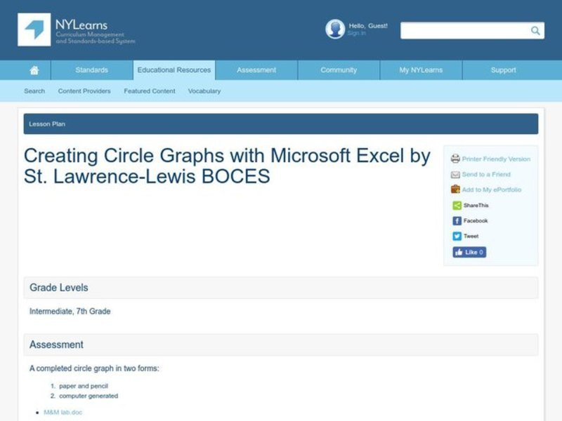 Creating Circle Graphs with Microsoft Excel Lesson Plan