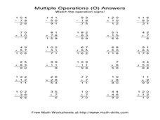 Multiple Operations (O) Worksheet