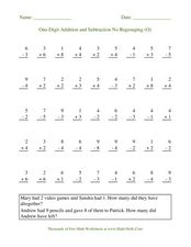 One Digit Addition and Subtraction No Regrouping (O) Worksheet