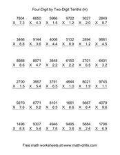 Four-Digit by Two-Digit Tenths (H) Worksheet