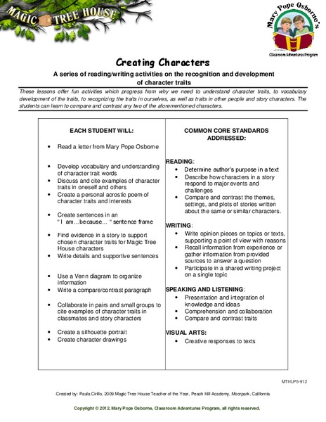 Creating Characters Lesson Plan