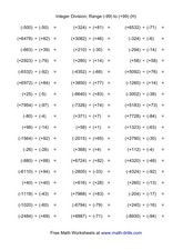 Integer Division; Range (-99) to (+99) (H) Worksheet