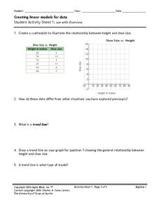 Creating Linear Models for Data Worksheet