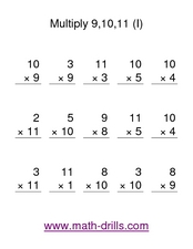 Multiply 9, 10, 11 (I) Worksheet