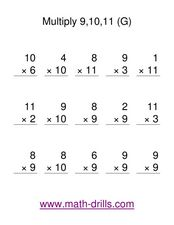 Multiply 9, 10, and 11 (G) Worksheet