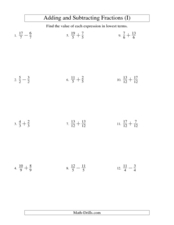 Adding and Subtracting Like Fractions (9) Worksheet