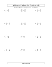 Adding and Subtracting Like Fractions (7) Worksheet