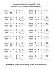 Inverse Relationships Add/Sub (E) Worksheet