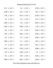 Multiply Decimals by 0.01 [E] Worksheet