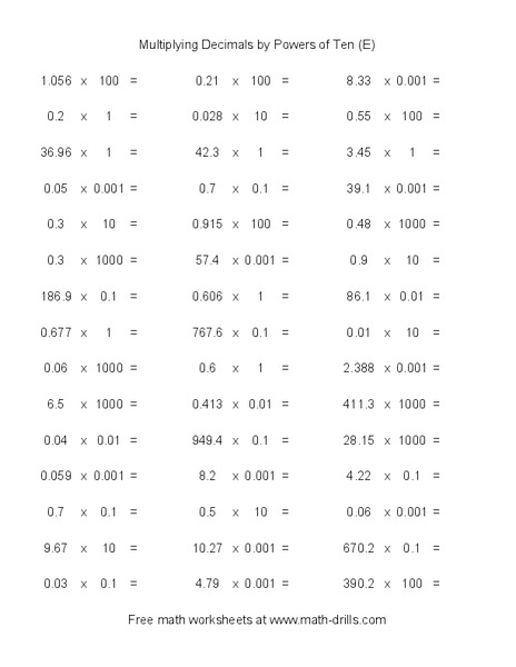 Multiplying Decimals by Powers of Ten E Worksheet for ...
