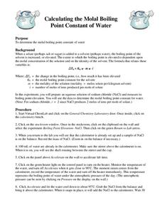 Calculating the Molal Boiling Point Constant of Water Interactive