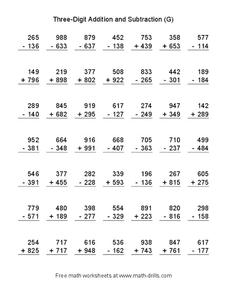 Three-Digit Addition and Subtraction (G) Worksheet