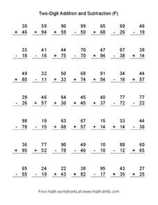 Two-Digit Addition and Subtraction (F) Worksheet