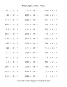 Multiplying Decimals by 0.1 (E) Worksheet