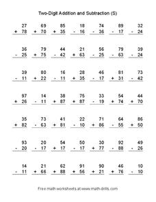 Two Digit Addition and Subtraction (S) Worksheet