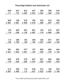 Three-Digit Addition and Subtraction (O) Worksheet