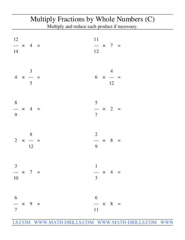 Worksheets Multiplying Of Whole Number By A Mixed Number multiply fractions by whole numbers c 4th 6th grade worksheet lesson planet