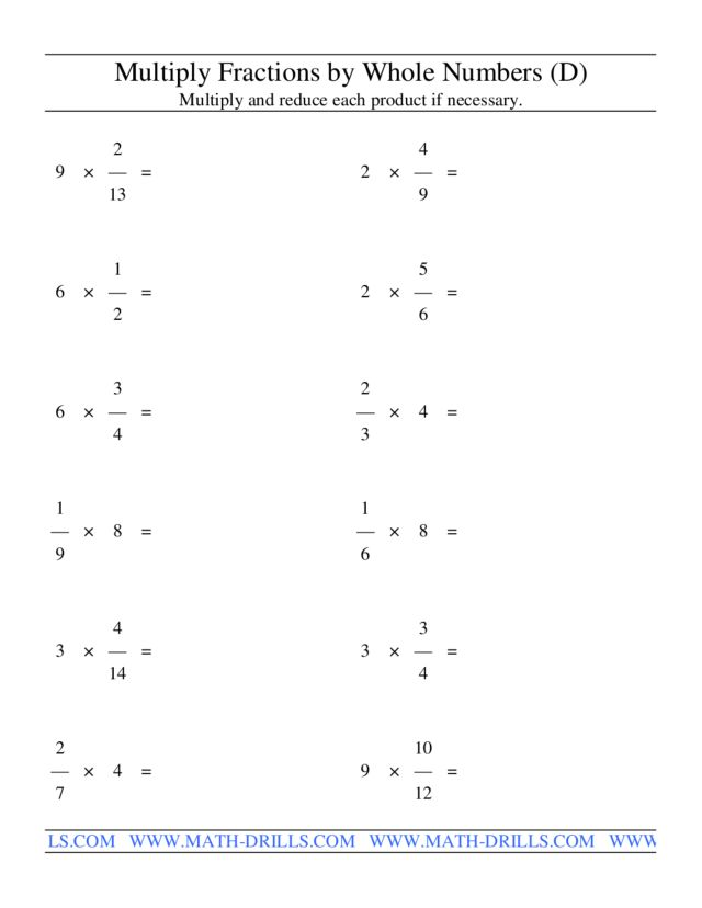 multiply fractions by whole numbers d worksheet for th  th  multiply fractions by whole numbers d
