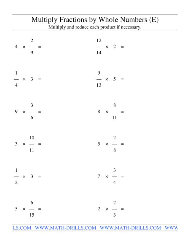 Multiply Fractions by Whole Numbers (E) Worksheet