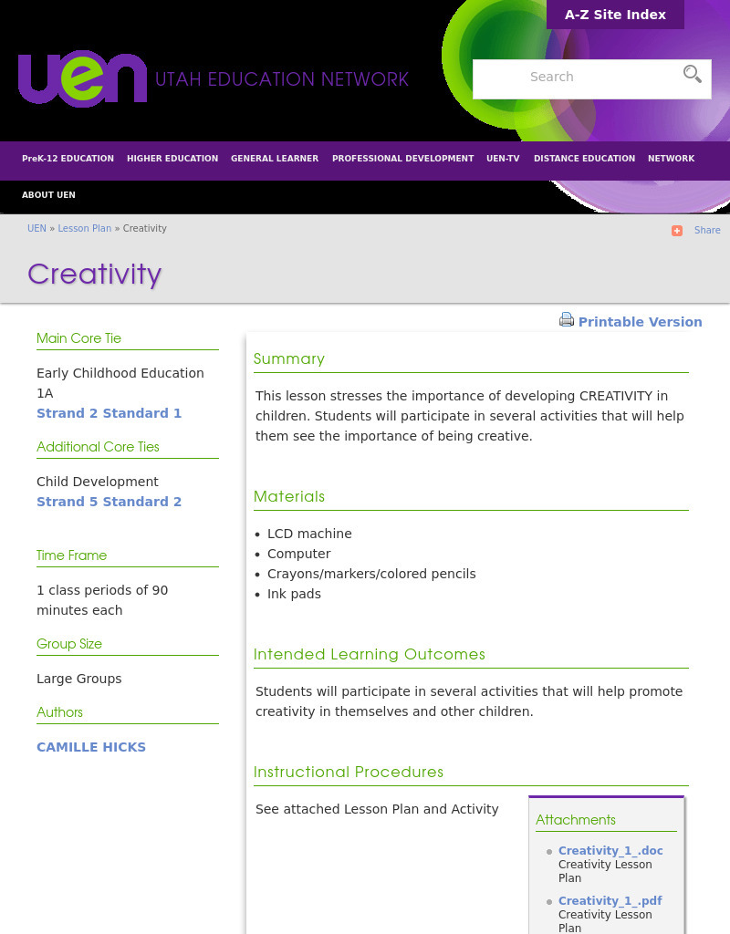 Creativity Lesson Plan