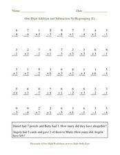 One-Digit Addition and Subtraction No Regrouping (E) Worksheet