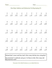 One-Digit Addition and Subtraction No Regrouping (F) Worksheet