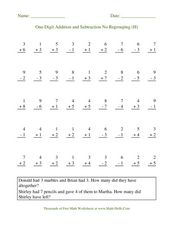 One Digit Addition and Subtraction No Regrouping (H) Worksheet
