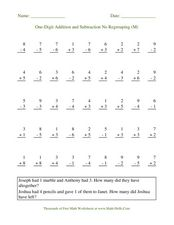 One-Digit Addition and Subtraction No Regrouping (M) Worksheet