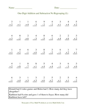One-Digit Addition and Subtraction No Regrouping (L) Worksheet