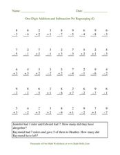One-Digit Addition and Subtraction No Regrouping (I) Worksheet