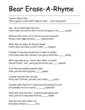 Bear Erase-A-Rhyme Worksheet