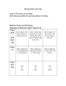 Story Think Tic Tac Toe Worksheet